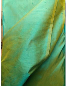 Tissu Soie Sauvage Vert reflet Or