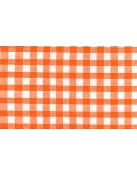 Vichy Moyens Carreaux Oranges Largeur 140cm