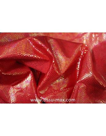 Tissu Hologramme Elastique rouge Pailleté
