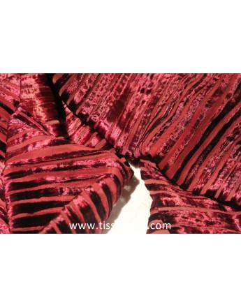 Tissu Velours de Soie Dévoré Bordeaux