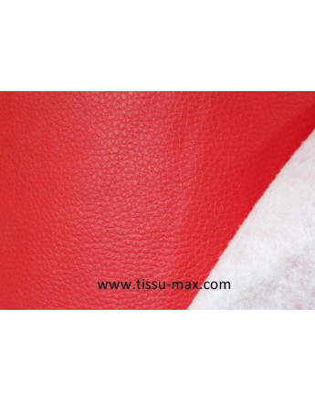 Tissu Simili Cuir Rigide Rouge Vif