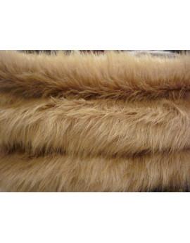 Tissu Fausse Fourrure Poils Long Beige