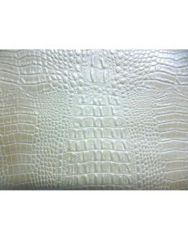 Tissu Simili Cuir Crocodile Blanc épais