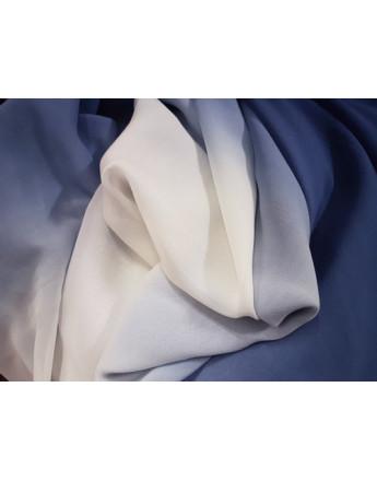 Mousseline de Soie Dégradé Bleu Marine et Blanc cassé