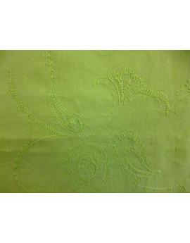 Tissu Coton Brodé Vert Anis