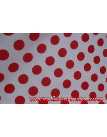Tissu Pois Rouges Fond Blanc 02