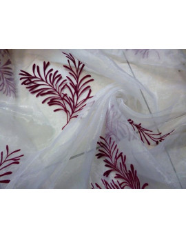 Tissu Organza des Feuilles fond Blanc x 280 largeur