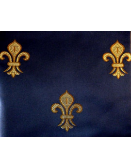 Tissu Fleurs de Lys fond Bleu Marine