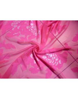 Tissu Mousseline de Soie Imprimée Fushia Clair 77