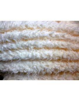 Tissu Fausse Fourrure Poils Court Crème