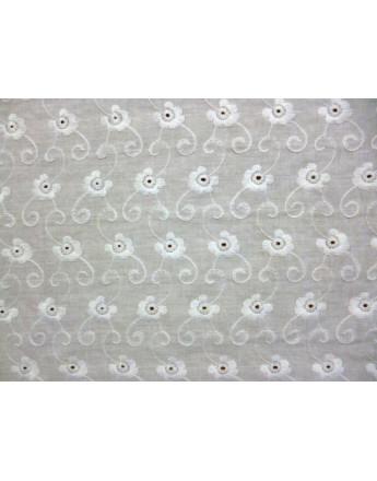 Tissu Coton Brodé Blanc 68