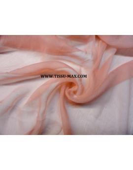 Tissu Mousseline de Soie Corail