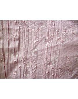 Tissu Coton Brodé Rose Pâle