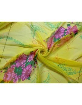 Tissu Mousseline de Soie Imprimé Fleurs 69
