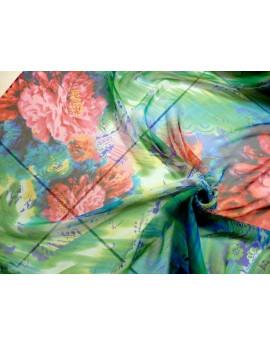 Tissu Mousseline de Soie Imprimé Fleurs 67