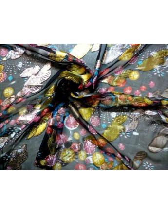 Tissu Mousseline de Soie Imprimé Fleurs 66