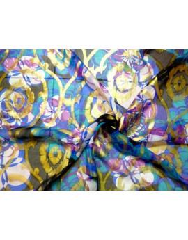 Tissu Mousseline de Soie Imprimé Fleurs 64