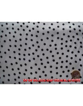 Tissu Pois Noirs Fond Blanc