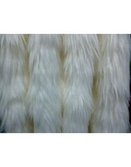 Tissu Fausse Fourrure Poils Longs Doux Envers en Suédine Motif Lapin Blanc