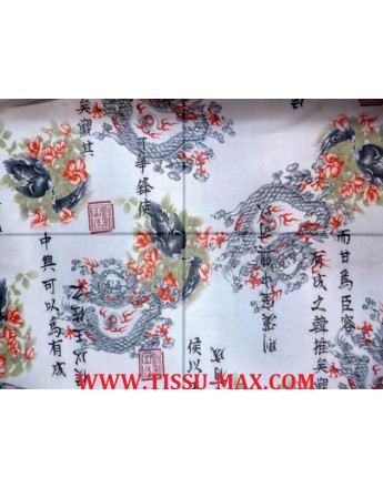 Tissu jersey maille imprimé dragon fond blanc