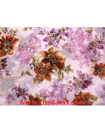 Tissu Mousseline Polyester fleurs d'été