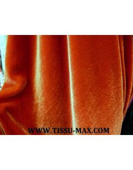 Tissu velours de soie orange