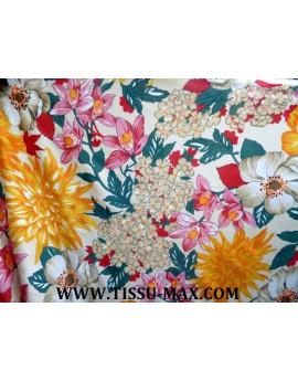 Tissu Polyester Imprimé fleurs d'été J02