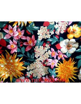 Tissu Polyester Imprimé fleurs d'été J03