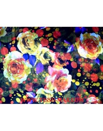 Tissu Mousseline Polyester Imprimé Fleurs d'été A70