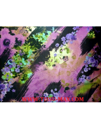 Tissu Mousseline Polyester Imprimée fleurs d'été A67