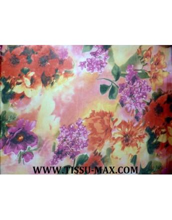 Tissu Mousseline Polyester Imprimée fleurs d'été A62