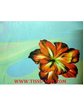 Tissu Mousseline Polyester Imprimée fleurs d'été A61