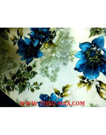 Tissu satin polyester imprimé fleurs d'été A83