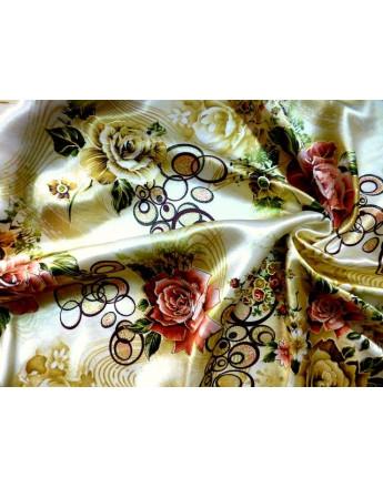 Tissu satin polyester imprimé fleurs d'été A82