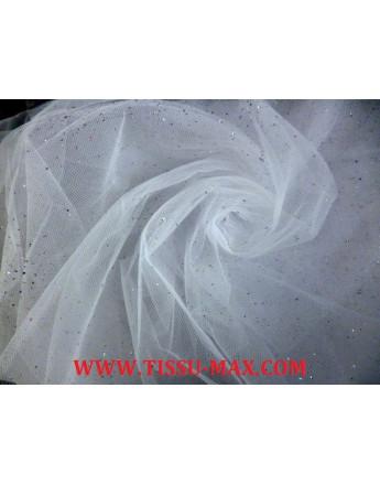 Tissu tulle souple blanc brillant