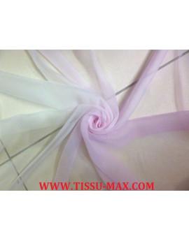 Tissu Mousseline de Soie Dégradé blanc cassé et rose bon bon