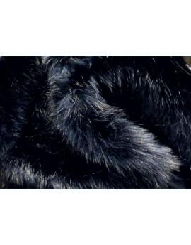 Tissu Fausse Fourrure Poils Longs Superieur Noir reflet Bleu Nuit