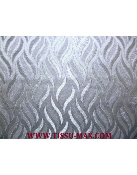 Tissu Brocart Noir Cachemire bleu pâle