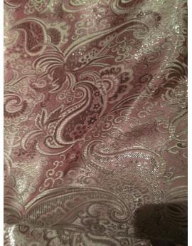 Tissu Brocart rose Cachemire argenté
