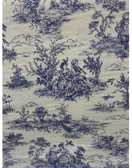 Tissu Jouy Pastorale Bleue larguer 280 cm