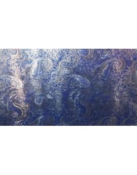 Tissu Brocart Cachemire Bleu Rigide