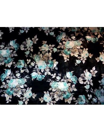 Tissu Voile de Coton Soie Imprimé Fleurs d'été A002