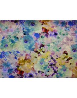 Tissu Voile de Coton Soie Imprimé Fleurs d'été A003