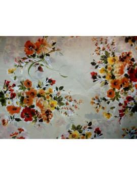 Tissu Voile de Coton Soie Imprimé Fleurs d'été A004