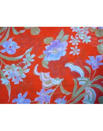 Tissu Voile de Coton Soie Imprimé Fleurs d'été A005