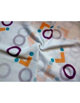 Tissu Voile de Coton Soie Imprimé Fleurs d'été A006
