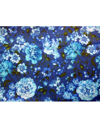 Tissu Voile de Coton Imprimé Fleurs d'été A007