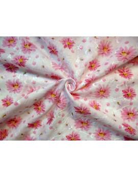 Tiss Coton Brodé fleur d'été  01