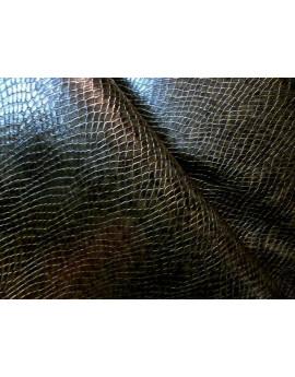 Tissu Simili Cuir Souple Imprimé Serpent Vert Kaki