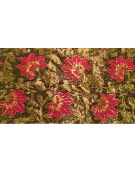 Tissu Brocart Imprime Fleurs Rose